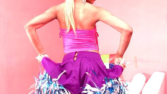 Candy Blonde Shemale Cheerleader Itiel Dancing And Appearing Belongings Upskirt