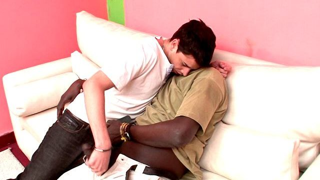 Wonderful Brunette Homosexual Naza Giving Handjob To Canu's Inconceivable Black Little Alex At The Sofa