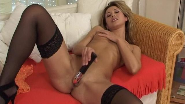Cuddly Blonde Stripling In Stockings Fucking A Huge Toy At The Settee