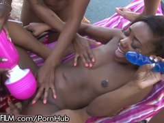 Chanell Middle All Female Black Group Sex!
