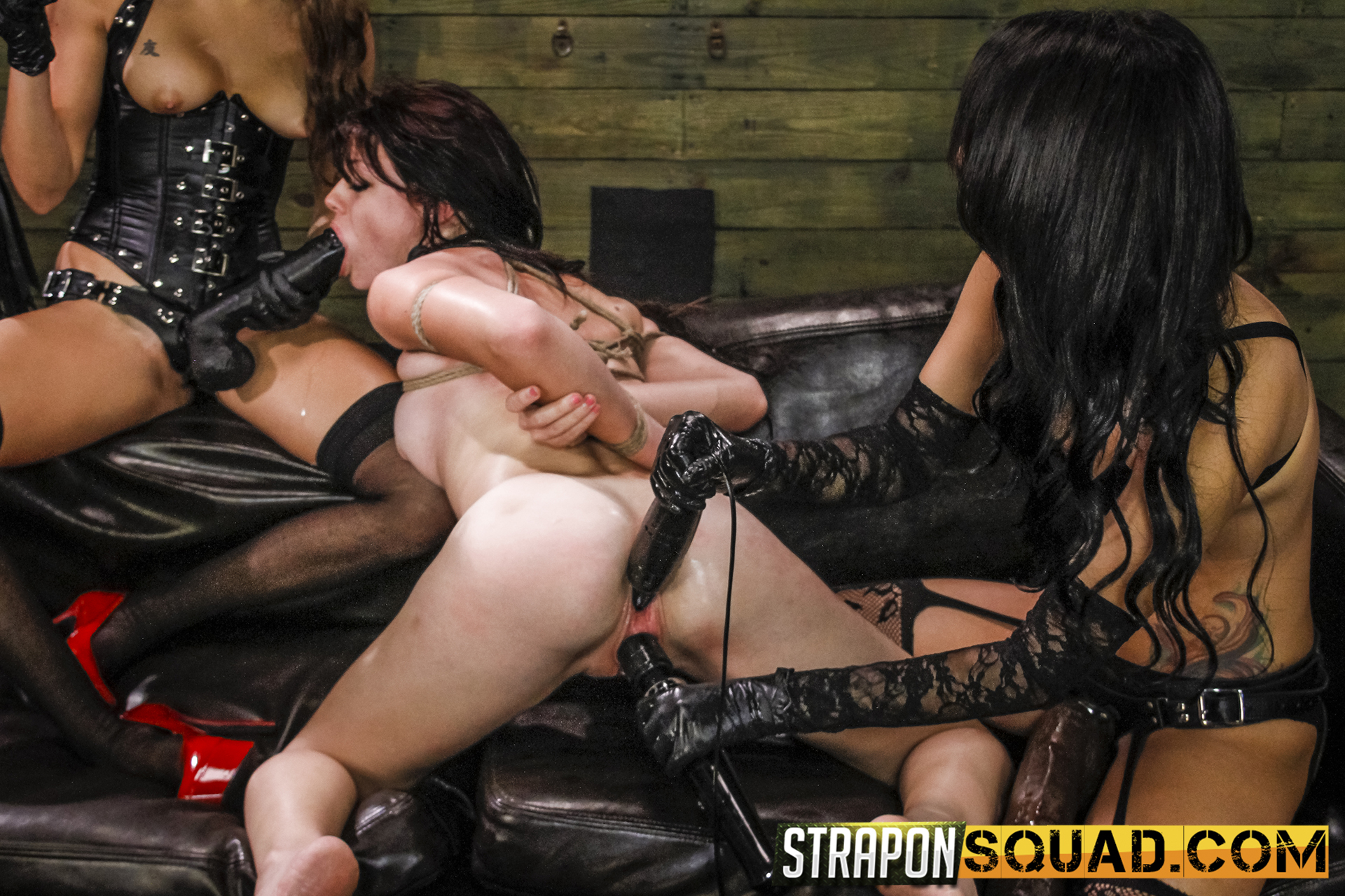 Lesbo Dominance & Sybian Saddle Three-way With Kaisey Dean, Marina Angel, Esmi Lee